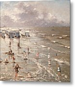 The Beach At Ostend Metal Print by Adolphe Jacobs