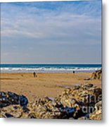 The Beach At Porthtowan Cornwall Metal Print by Brian Roscorla