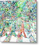 The Beatles Abbey Road Watercolor Painting Metal Print by Fabrizio Cassetta