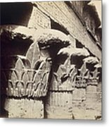 The Capitals Of The Portico Of The Temple Of Khnum In Esna Metal Print by Francis Bedford