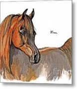 The Chestnut Arabian Horse 2a Metal Print by Angel  Tarantella
