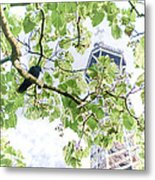 The Crow And The Eiffel Tower Metal Print by Olivier Le Queinec