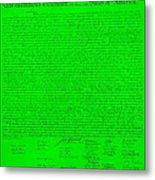 The Declaration Of Independence In Green Metal Print by Rob Hans