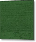 The Declaration Of Independence In Olive Metal Print by Rob Hans