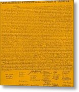The Declaration Of Independence In Orange Metal Print by Rob Hans