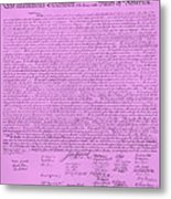 The Declaration Of Independence In Pink Metal Print by Rob Hans