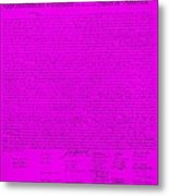 The Declaration Of Independence In Purple Metal Print by Rob Hans