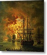 The Destruction Of The Turkish Fleet At The Bay Of Chesma Metal Print by Jacob Philippe Hackert