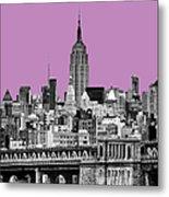 The Empire State Building Pantone African Violet Metal Print by John Farnan
