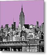 The Empire State Building Pantone African Violet Light Metal Print by John Farnan