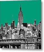 The Empire State Building Pantone Emerald Metal Print by John Farnan