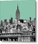 The Empire State Building Pantone Jade Metal Print by John Farnan