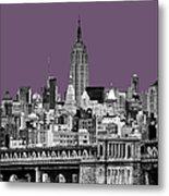 The Empire State Building Plum Metal Print by John Farnan