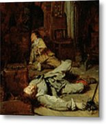 The End Of The Game Of Cards Metal Print by Jean Louis Ernest Meissonier
