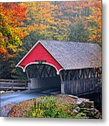 The Flume Covered Bridge Metal Print by Thomas Schoeller