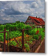 The Garden Gate Metal Print by Debra and Dave Vanderlaan