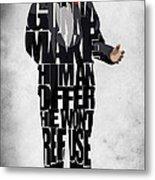 The Godfather Inspired Don Vito Corleone Typography Artwork Metal Print by Ayse Deniz