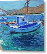 The Harbor  Tinos Metal Print by Andrew Macara