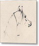 The Horse Sketch Metal Print by Angel  Tarantella