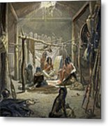 The Interior Of A Hut Of A Mandan Chief Metal Print by Karl Bodmer