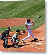 The Laser Show Dustin Pedroia Metal Print by Tom Prendergast