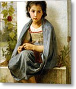 The Little Knitter Metal Print by William Bouguereau