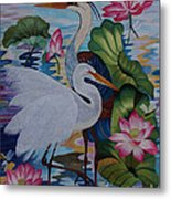 The Lotus Pond Hand Embroidery Metal Print by To-Tam Gerwe