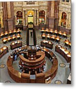 The Main Reading Room Of The Library Of Congress Metal Print by Allen Beatty