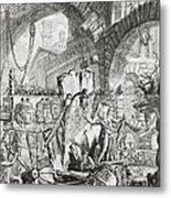 The Man On The Rack Plate II From Carceri D'invenzione Metal Print by Giovanni Battista Piranesi