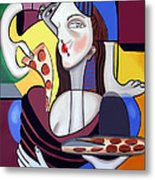 The Mona Pizza Metal Print by Anthony Falbo