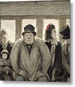 The Omnibus Metal Print by Honore Daumier