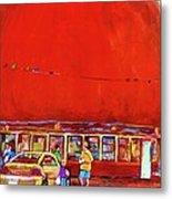 The Orange Julep Montreal Summer City Scene Metal Print by Carole Spandau