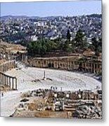 The Oval Plaza At Jerash In Jordan Metal Print by Robert Preston