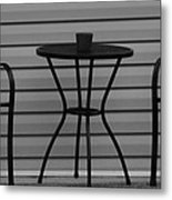 The Patio In Black And White Metal Print by Rob Hans