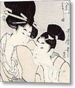 The Pleasure Of Conversation Metal Print by Kitagawa Utamaro