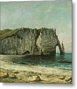 The Porte D'aval At Etretat Metal Print by Gustave Courbet