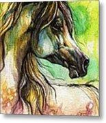 The Rainbow Colored Arabian Horse Metal Print by Angel  Tarantella