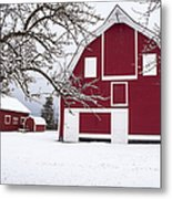 The Red Barn Metal Print by Fran Riley