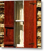 The Reynold's Cabin Window Metal Print by Catherine Fenner