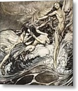 The Rhinemaidens Obtain Possession Of The Ring And Bear It Off In Triumph Metal Print by Arthur Rackham