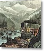 The Route To California Metal Print by Currier and Ives