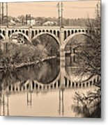 The Schuylkill River And Manayunk Bridge In Sepia Metal Print by Bill Cannon