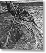 The Ship Sinks But The Mariner Is Rescued By The Pilot And Hermit Metal Print by Gustave Dore