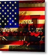 The Signing Of The United States Declaration Of Independence And Old Glory 20131220 Metal Print by Wingsdomain Art and Photography