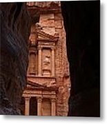 The Treasury Seen From The Siq Petra Jordan Metal Print by Robert Preston
