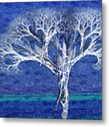 The Tree In Winter At Dusk - Painterly - Abstract - Fractal Art Metal Print by Andee Design