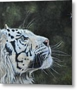 The White Tiger And The Butterfly Metal Print by Louise Charles-Saarikoski