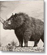 The Woolly Rhinoceros Is An Extinct Metal Print by Philip Brownlow