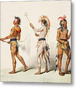 Three Indians Playing Lacrosse Metal Print by Unknown