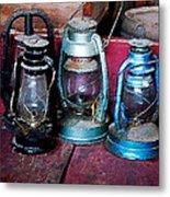 Three Kerosene Lamps Metal Print by Susan Savad